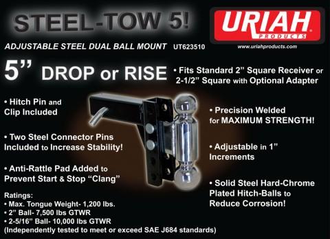 Steel Tow 5 Adjustable Steel Dual Ball Mount