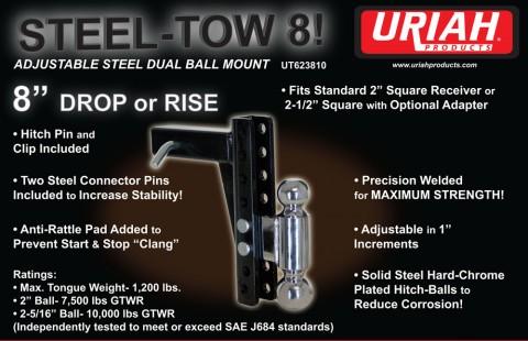 Steel Tow 8 Adjustable Steel Dual Ball Mount